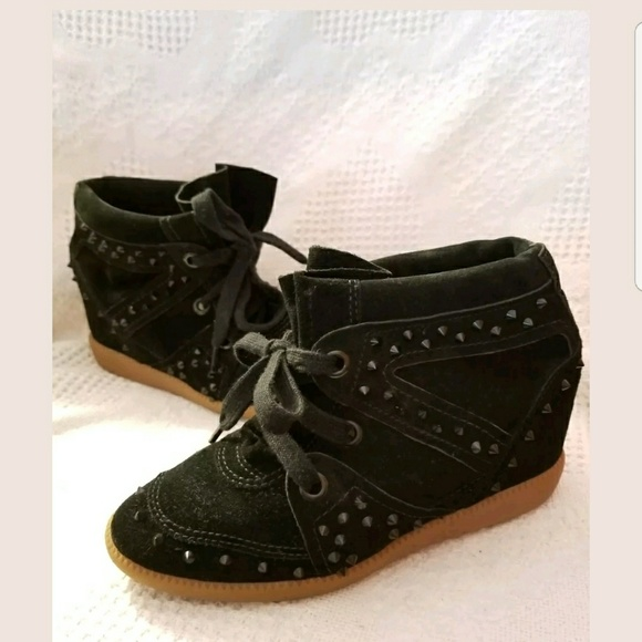 0ea7c8982 SCHUTZ Shoes | Wedge Sneaker Spikes Black Suede Sailfish | Poshmark